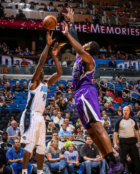 Magic forward Andrew Nicholson (44) shoots over Sacramento's Jason Thompson (34) during first quarter action of a game against the Sacramento Kings at Amway Center in Orlando, Fla. on Wednesday, February 27, 2013. (Joshua C. Cruey/Orlando Sentinel)