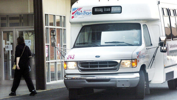 An Eastern Panhandle Transit Authority vehicle drops off a passenger at Big Lots in Martinsburg, W.Va. in this Herald-Mail file photo. In a planning session Wednesday, community stakeholders, including government officials and business leaders, were asked to compile what they changes they would like to see in transit services provided, both long and short term.