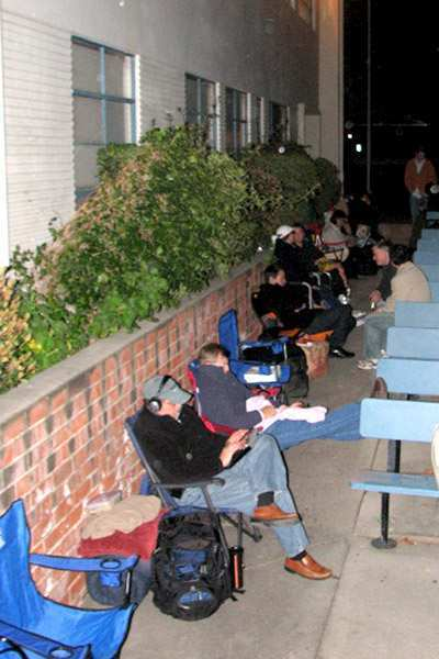ARCHIVE PHOTO: Parents hoping to enroll their children in LCUSD schools camped outside district headquarters.