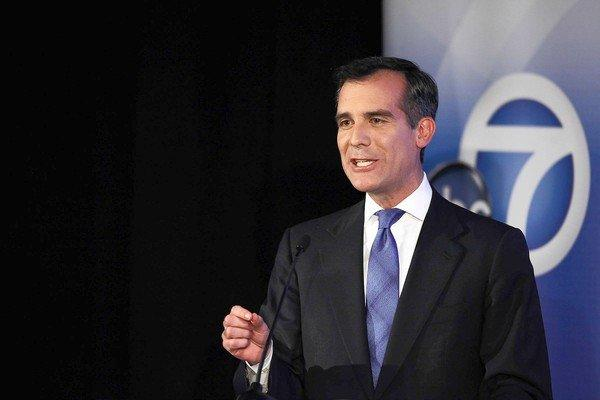 L.A. Councilman Eric Garcetti participates in a mayoral debate at Cal State Los Angeles' Pat Brown Institute of Public Affairs.