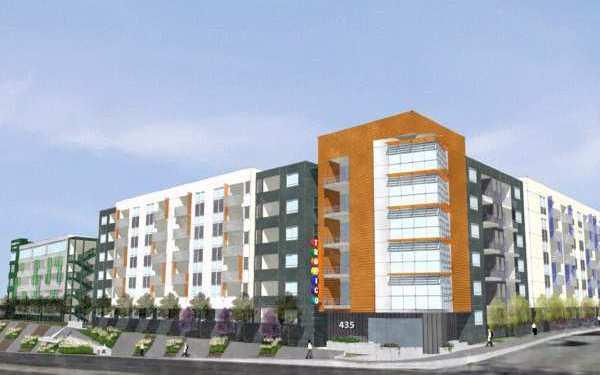 Architect's rendering of the 238-unit Tropico Apartments project on Los Feliz Road.