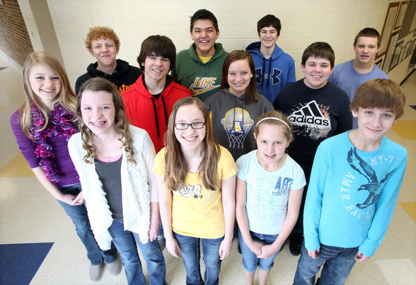 Simmons Middle School show choir students from the left in front are: Rachel Hohenstein, Samantha Kaderabek, Annika Padgett and Caleb Timmerman. In the middle row from the left are: Kate Campbell, Jake Hardie, Shelby Tietz and Brandon Bruce. In the back from the left are: Dylan Bader, Mason Seaboy, Aaron Knox and Carter Deyo. photo by john davis taken 2/26/2013