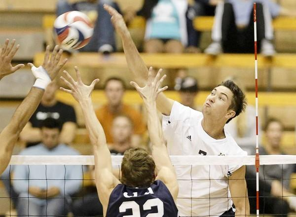 Kevin Tillie, right, who had 13 kills for UC Irvine, battles at the net against Cal Baptist in a Mountain Pacific Sports Federation match at the Bren Events Center on Wednesday.