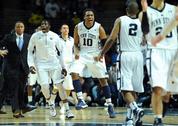 Penn State Nittany Lions players celebrate during the second half of their game against the Michigan Wolverines on Feb. 27. Penn State defeated Michigan 84-78.