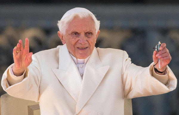 Pope Benedict XVI speaks to tens of thousands of pilgrims and well-wishers during his final general audience on the eve of his retirement as leader of the world's Roman Catholics at St. Peter's Square, Vatican City.
