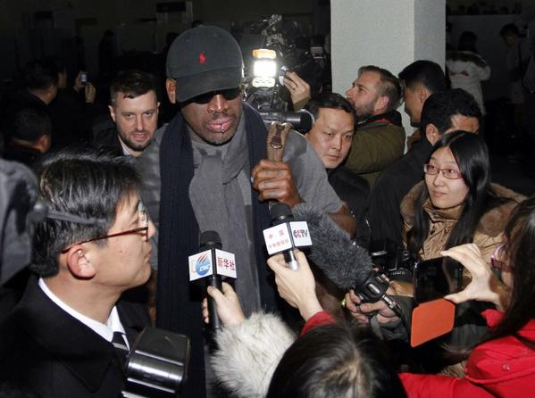 "Dennis Rodman, surrounded by journalists when he arrived in North Korea, reportedly has told the nation's leader, Kim Jong Un: ""You have a friend for life."""