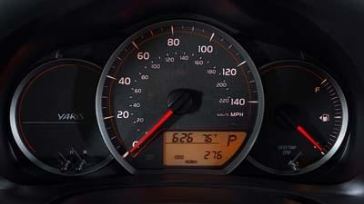 A speedometer measuring up to 140 mph is seen in a recent Toyota Yaris subcompact car.