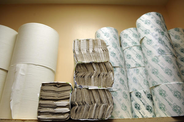 Paper products like paper towels and toilet tissue are used in huge quantities at all three major airports.