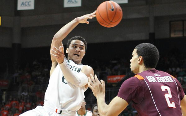 Shane Larkin scored 22 points and dished out six assists, while Kenny Kadji added 20 points and six rebounds, as No. 5 Miami opened up a big lead by the half and cruised the rest of the way past Virginia Tech, 76-58. Trey McKinney Jones added 11 points for the Hurricanes (23-4, 14-1 ACC), who played with purpose after suffering their first conference loss of the season over the weekend at Wake Forest.