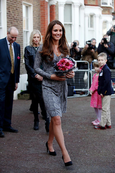 Britain's Catherine, Duchess of Cambridge leaves Hope House charity in south London on February 19, 2013. The Duchess visited Hope House, an all-female rehabilitation centre which is is one of the projects run by her patronage, Action on Addiction. AFP PHOTO / POOL / MARY TURNERMARY TURNER/AFP/Getty Images ORG XMIT: