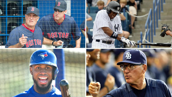 Clockwise from top-right: Red Sox manager John Farrell and infield coach Brian Butterfield, Yankees outfielder Curtis Granderson, Rays manager Joe Maddon and Blue Jays shortstop Jose Reyes.