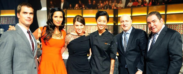 From left, Hugh Acheson, Padma Lakshmi, Gail Simmons, winner Kristen Kish, Tom Colicchio and Emeril Lagasse.