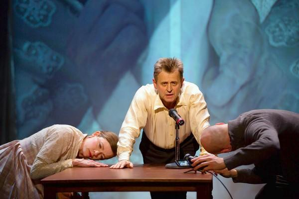 Tymberly Canale, Mikhail Baryshnikov and Aaron Mattocks are in the Hartford Stage production of 'Man In A Case.'