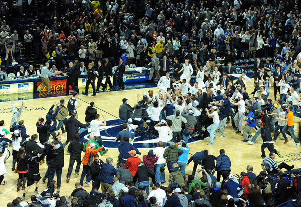 Penn State Nittany Lions players and fans celebrate following the game against the Michigan Wolverines at the Bryce Jordan Center. Penn State defeated Michigan 84-78.