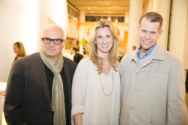 Orange County Museum of Art Director and Exhibition Curator Dennis Szakacs, OCMA Campaign Director Serena Overhoff and OCMA Trustee Allan Hunter.