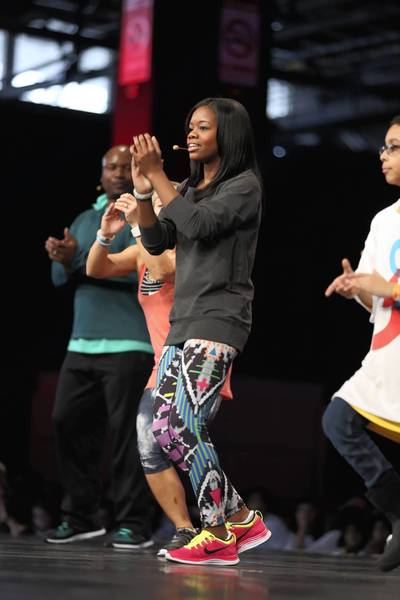 Olympic gold medal gymnast Gabby Douglas joins in.