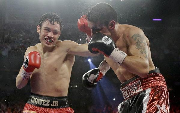 Boxer Julio Cesar Chavez Jr., left, tested positive for marijuana after suffering the first loss of his career to Sergio Martinez in September.