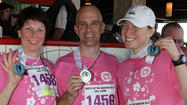 "Kathleen Scanlan, of Skokie, climbed 94 floors in Respiratory Health Association's 16th annual Hustle Up the Hancock on Sunday, February 24. Scanlan was on team ""North Shore Hell Climbers."" The charity stair climb drew more than 4,000 people to ascend John Hancock Center and raises funds and awareness for the association's local lung disease research and programs."