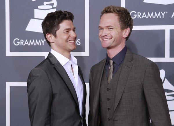 David Burtka, left, and Neil Patrick Harris at the Grammy Awards in Los Angeles.