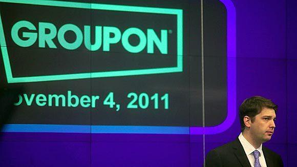 Andrew Mason, chief executive officer of Groupon Inc., participates in the opening bell ceremony at the Nasdaq MarketSite in New York, U.S., on Friday, Nov. 4, 2011.
