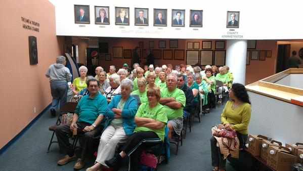 Century Village residents filled up the Palm Beach County Commission chambers in downtown West palm Beach Thursday morning but were not allowed to speak at the meeting.
