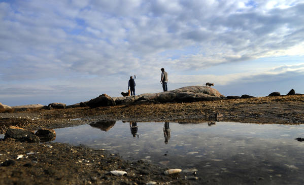 Bill Smalley of Guilford, left and his son, Chris Smalley of Stamford, look out toward Long Island Sound from the rocks at Chaffinch Island Park in Guilford.