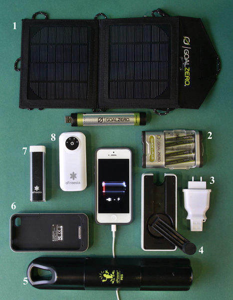 For on-the-go cellphone recharging: 1. Panels for Goal Zero's Switch 8 Solar Recharging Kit, with its cylindrical battery pack directly below. 2. The AAA battery pack for Goal Zero's more powerful Guide 10 Plus Adventure Kit, which comes with slightly larger solar panels (not shown). 3. Molla Space's Plug. 4. Eton's BoostTurbine2000. 5. The nPower Peg. 6. Mophie Juice Pack Air. 7. The eFreesia Mini. 8. The eFreesia Bar.