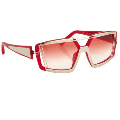 Prabal Gurung acetate sunglasses with metal frames and red gradient lenses.
