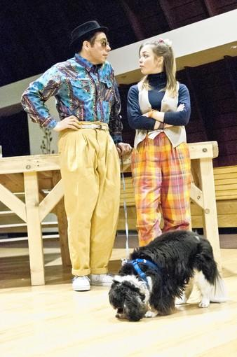 "Jose Guzman (Launce), Jessica Shearer (Speed) and Norton (Crab) in ""The Gentlemen of Verona."""