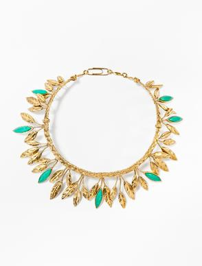 """Malibu Blue"" necklace, gold-dipped with t"