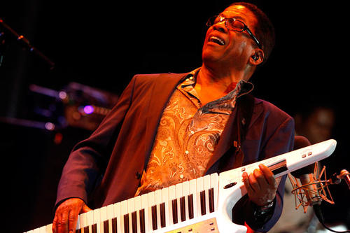 "Herbie Hancock wields a wicked keytar at his 70th birthday concert titled ""Seven Decades -- The Birthday Celebration"" at the Hollywood Bowl on Wednesday, Sept. 1, 2010."