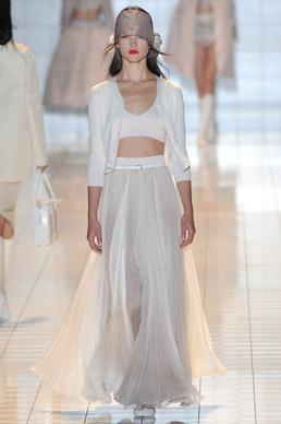 At Rochas, a dreamy skirt and bustier evoke the casual luxe style and essence of California.