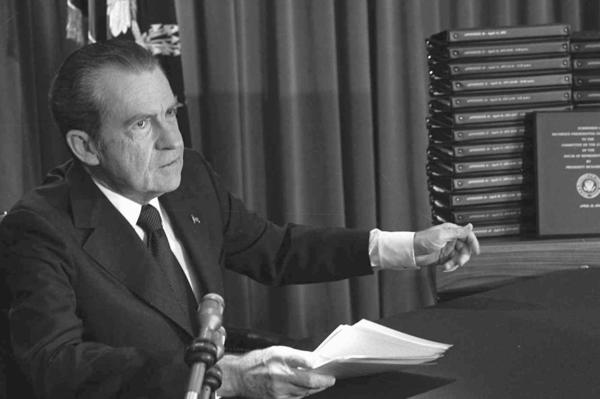 President Nixon first released edited transcripts of White House tapes during the Watergate investigation.