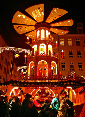Shoppers pack the Christmas Market, an annual celebration of the holiday season in Dresden, Germ