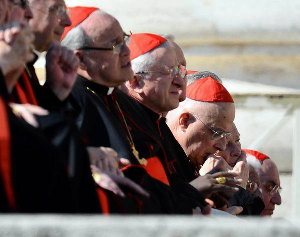 Cardinals, including Cardinal Francis George, head bowed, watch as Pope Benedict XVI arrives Wednesday for his last public audience at St. Peter's square in the Vatican.