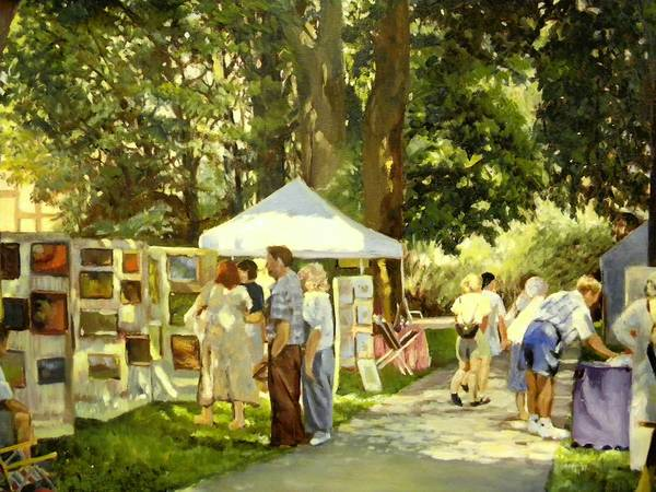 'Art in the Park' (2010) is among the 22 works in 'The Paintings of Edith Roeder' at the Baum School of Art through March 15.