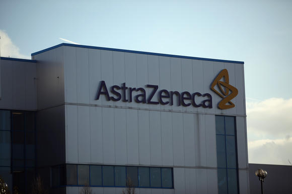 A general view of buildings and signage at the Macclesfield site of pharmaceutical company AstraZenica
