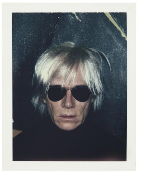 Andy Warhol's 1986 Polaroid self-portrait is up for bid in a Christie's online auction through Tuesday morning. Proceeds go to the visual arts foundation Warhol set up in his will.