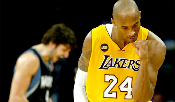 Kobe Bryant's 33 points helped drive the Lakers to their 21st consecutive victory over the Minnesota Timberwolves and to within two games of a playoff position.
