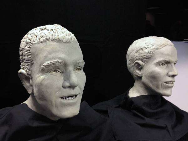 The medical examiner's office revealed four clay facial reconstructions of people found dead in Hampton Roads Thursday. The face on the left represents a man whose remains were found next to a warehouse in northern Newport News in 1992. The face on the right represents a man whose body was found floating in the small boat harbor at the end of Jefferson Avenue in 1982.