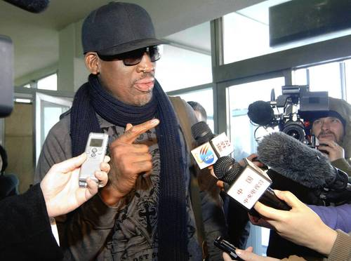 Former NBA star Dennis Rodman speaks to reporters just before he leaves Pyongyang. North Korea's KCNA news agency reported that a mixed basketball game of visiting American basketball players and North Korean players was held at the Ryugyong Jong Ju Yong Gymnasium in Pyongyang.