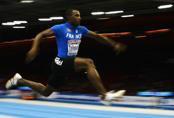 France's Karl Taillepierre competes during the Men's Triple Jump qualification at the European Indoor Championships in Gothenburg, Sweden, on March 1, 2013.