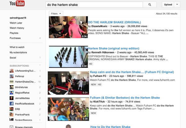 "A new Easter egg on YouTube makes the site do the Harlem Shake when you search for ""Do the Harlem Shake."""