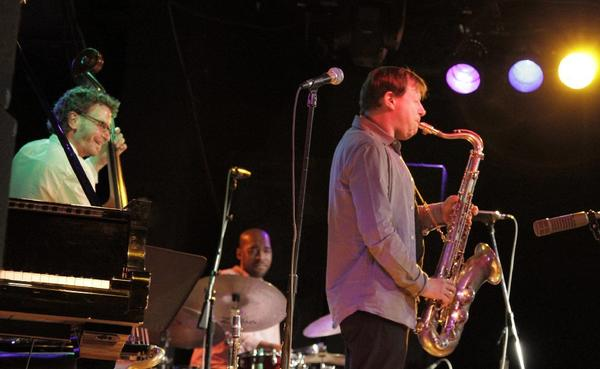 Larry Grenadier on bass, Eric Harland on drums and saxophonist Chris Potter at the Musicians Institute in Hollywood, part of the Jazz Bakery's Moveable Feast concerts.