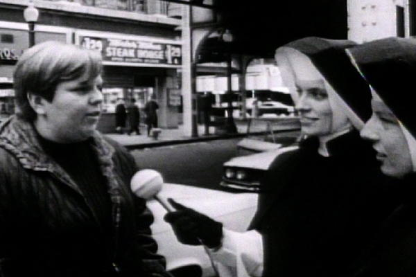 "From the 1968 documentary ""Inquiring Nuns,"" by Gordon Quinn: Two young nuns explore Chicago, from a supermarket to the Art Institute and in front of churches on Sunday, confronting people with the crucial question, ""Are you happy?"""