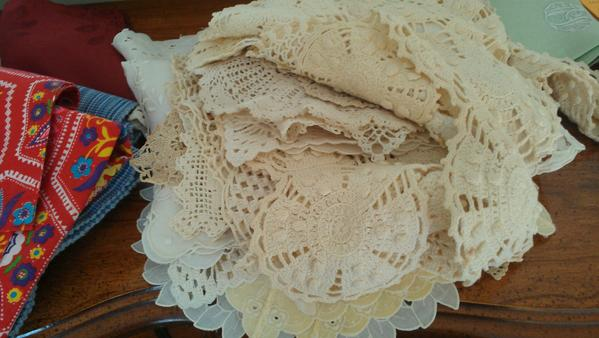 When you clean out your parents home, you make discoveries about their pasts and passions. For instance, I never knew my mother had cornered the market on crocheted doilies and table linens. These are but a few we found.