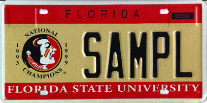 <b>Florida State University</b>  <br> Effective Oct. 1, 1987.<br> <br> <li> Total plates issued in 2012: 64,233 <li> Organizations receiving proceeds: Florida State University for Academic Enhancement.