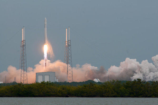 SpaceX's Falcon 9 blasts off toward the International Space Station on a NASA resupply mission.