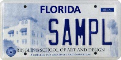 <b>Ringling School of Art and Design</b>  <br> Effective Oct. 1, 2002.<br> <br> <li> Total plates issued in 2012: 410 <li> Organizations receiving proceeds: Ringling School of Art and Design.
