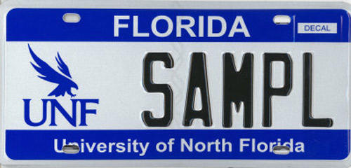 <b>University of North Florida</b>  <br> Effective Oct. 1, 1987.<br> <br> <li> Total plates issued in 2012: 1,631 <li> Organizations receiving proceeds: University of North Florida for Academic Enhancement.